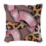 Leopards and Lace - Pink Woven Throw Pillow