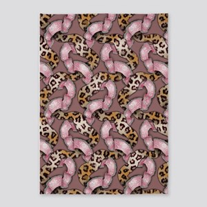 Leopards and Lace - Pink 5'x7'Area Rug