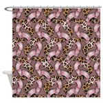Leopards and Lace - Pink Shower Curtain