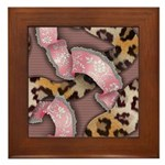 Leopards and Lace - Pink Framed Tile