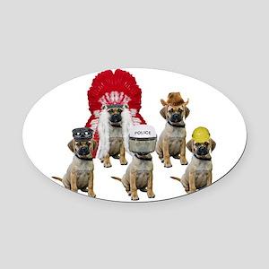 Village Puggles Oval Car Magnet