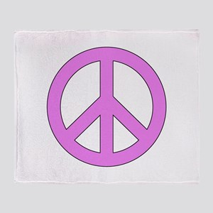 Violet Peace Sign Throw Blanket