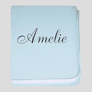 Amelie Black Script Personalized baby blanket