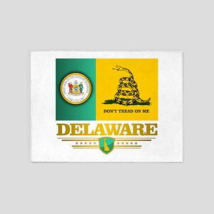 Delaware Gadsden Flag 5'x7'Area Rug