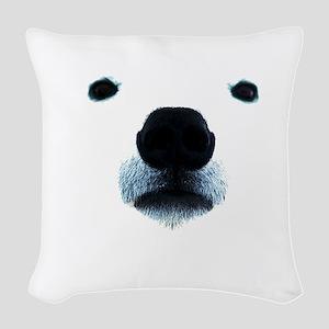 Polar Bear Face Woven Throw Pillow