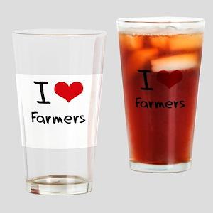 I Love Farmers Drinking Glass