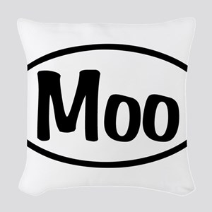 Moo Oval Woven Throw Pillow