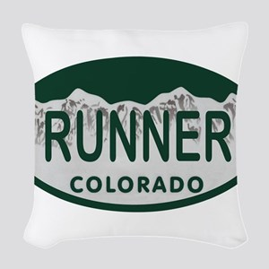 Runner Colo License Plate Woven Throw Pillow