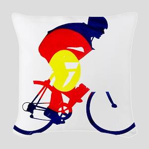 Colorado Cycling Woven Throw Pillow