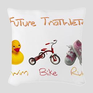 Future Girl Triathlete Woven Throw Pillow