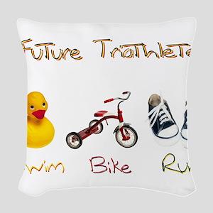 Future Triathlete Woven Throw Pillow
