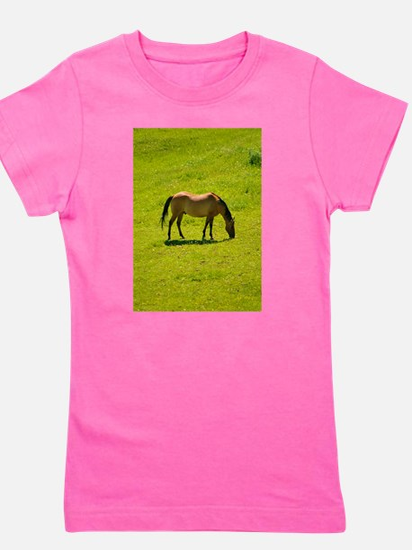 Horse in green field Girl's Tee