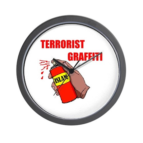 TERRORIST GRAFITTI Wall Clock