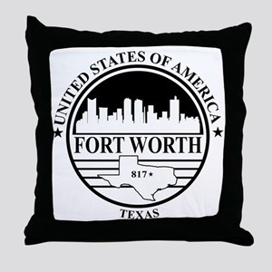 Fort worth logo white and black Throw Pillow