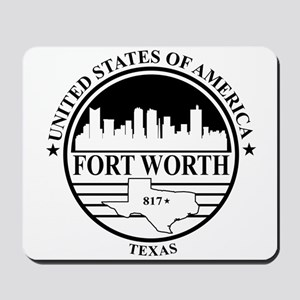 Fort worth logo white and black Mousepad