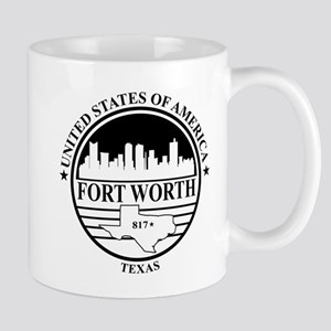 Fort worth logo white and black Mug