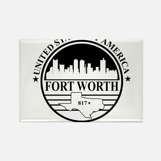 Fort worth logo white and black Rectangle Magnet