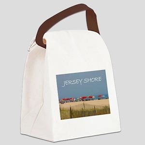 Jersey Shore Beach Umbrellas Canvas Lunch Bag