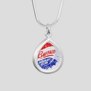 Vintage Buffalo Hockey Silver Teardrop Necklace