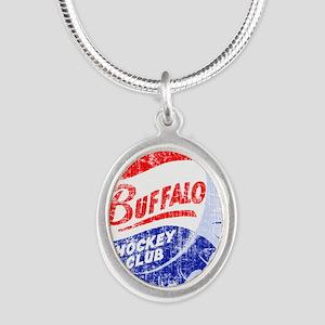 Vintage Buffalo Hockey Silver Oval Necklace