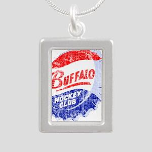 Vintage Buffalo Hockey Silver Portrait Necklace