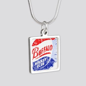 Vintage Buffalo Hockey Silver Square Necklace
