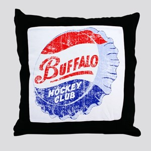 Vintage Buffalo Hockey Throw Pillow