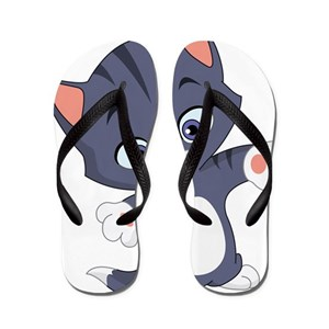071f15138c80 Purple Cartoon Cat Flip Flops - CafePress