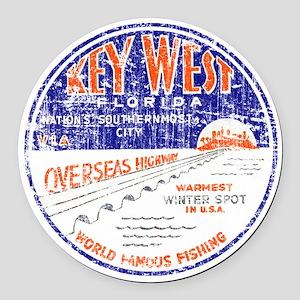 Vintage Key West Round Car Magnet
