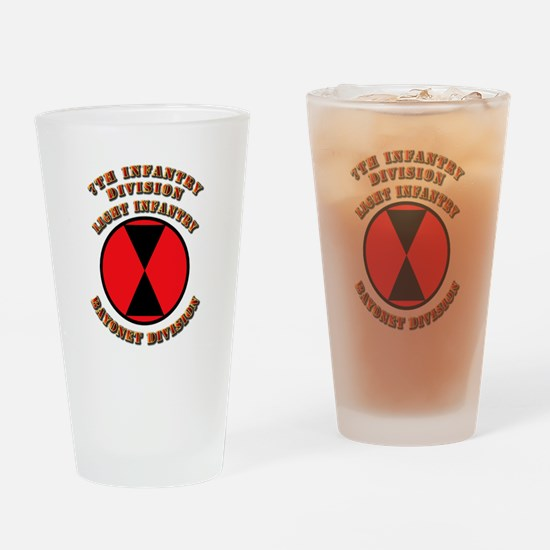 Army - Division - 7th Infantry Drinking Glass