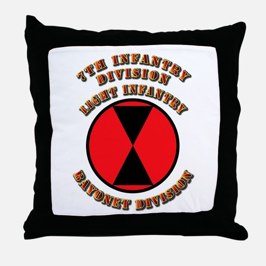 Army - Division - 7th Infantry Throw Pillow
