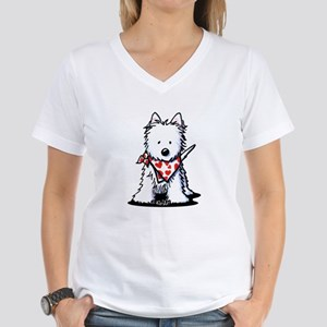 Heart Scarf Westie Women's V-Neck T-Shirt