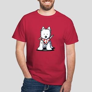 Heart Scarf Westie Dark T-Shirt