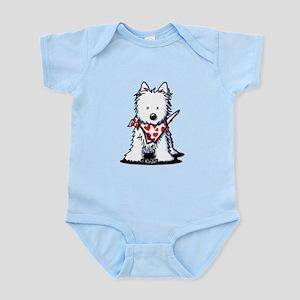 Heart Scarf Westie Infant Bodysuit