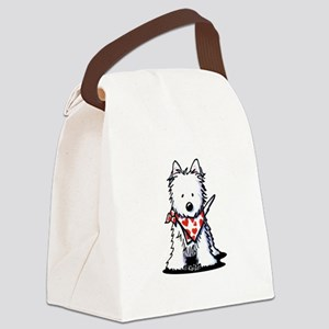 Heart Scarf Westie Canvas Lunch Bag