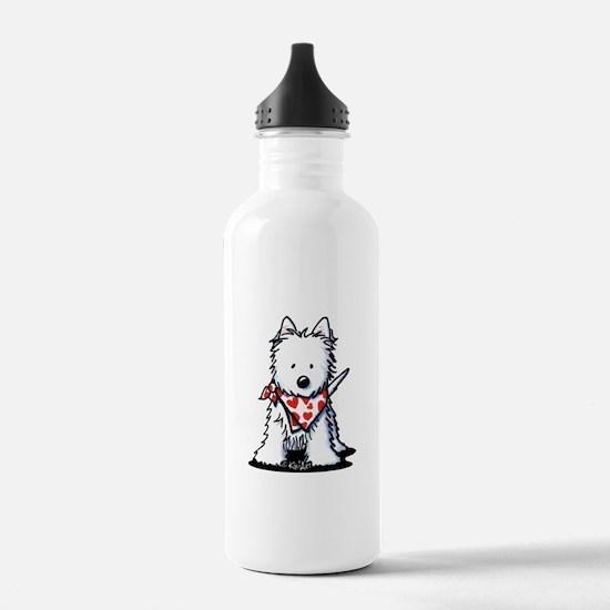 Heart Scarf Westie Water Bottle
