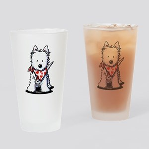 Heart Scarf Westie Drinking Glass
