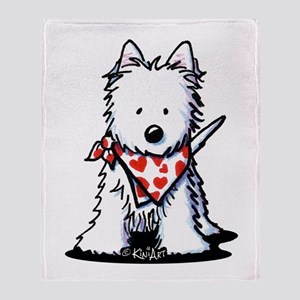 Heart Scarf Westie Throw Blanket