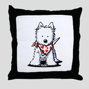 Heart Scarf Westie Throw Pillow