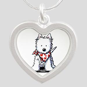Heart Scarf Westie Silver Heart Necklace