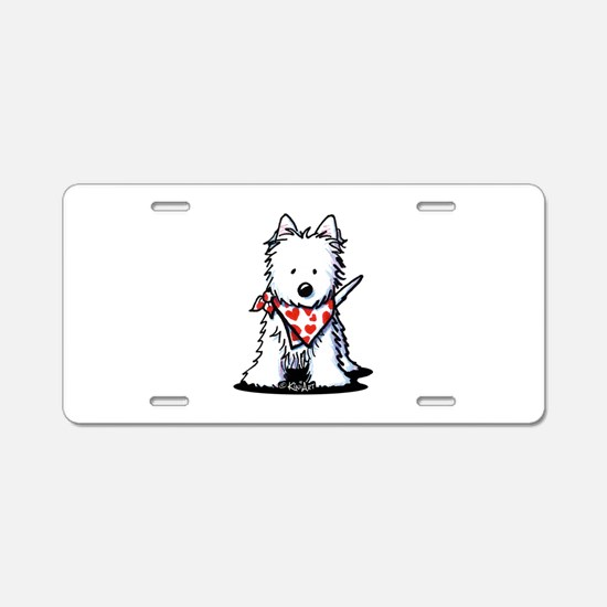 Heart Scarf Westie Aluminum License Plate