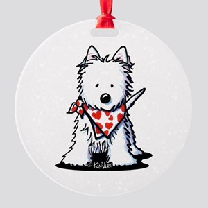 Heart Scarf Westie Round Ornament