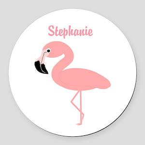 Personalized Flamingo Round Car Magnet