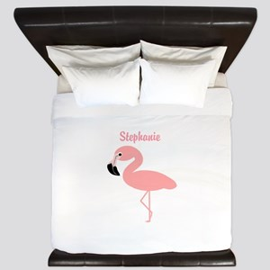 Personalized Flamingo King Duvet