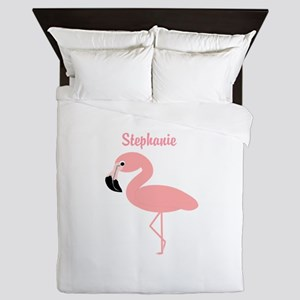 Personalized Flamingo Queen Duvet