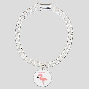 Personalized Flamingo Charm Bracelet, One Charm