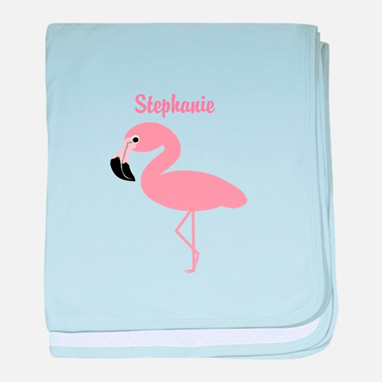 Personalized Flamingo baby blanket