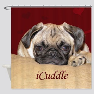 Adorable iCuddle Pug Puppy Shower Curtain