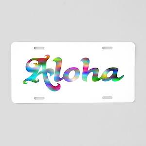 Aloha Rainbow Aluminum License Plate