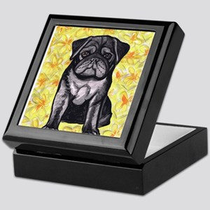 Cute black pug by Artwork by NikiBug Keepsake Box